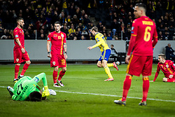 March 23, 2019 - Stockholm, SWEDEN - 190323 Viktor Claesson of Sweden celebrates and players of Romania looks dejected  during the UEFA Euro Qualifier football match between Sweden and Romania on March 23, 2019 in Stockholm. (Credit Image: © Mathilda Ahlberg/Bildbyran via ZUMA Press)