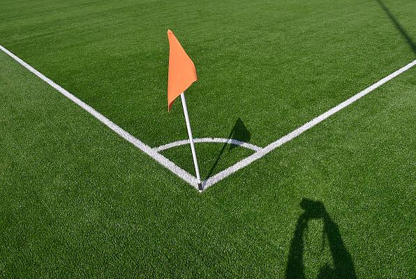 Nederland, Ooij, 1-4-2013Cornerhoek van een voetbalveld van kunstgras.Foto: Flip Franssen/Hollandse Hoogte