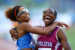 May 31, 2018 - Rome, Italy - Yadisleidis Pedroso (ITA) and Ayomide Folorunso (ITA) celebrate after competing in 400m hurdles women during Golden Gala Iaaf Diamond League Rome 2018 at Olimpico Stadium in Rome, Italy on May 31, 2018. (Credit Image: © Matteo Ciambelli/NurPhoto via ZUMA Press)