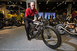 Jean-Claude Barrois on his home made custom 1926 Rudge 500 cc racer with 1956 BSA 4-speed gear box on display in the AMD World Championship of Custom Bike Building in the custom themed Hall 10 at the Intermot Motorcycle Trade Fair. Cologne, Germany. Wednesday October 5, 2016. Photography ©2016 Michael Lichter.