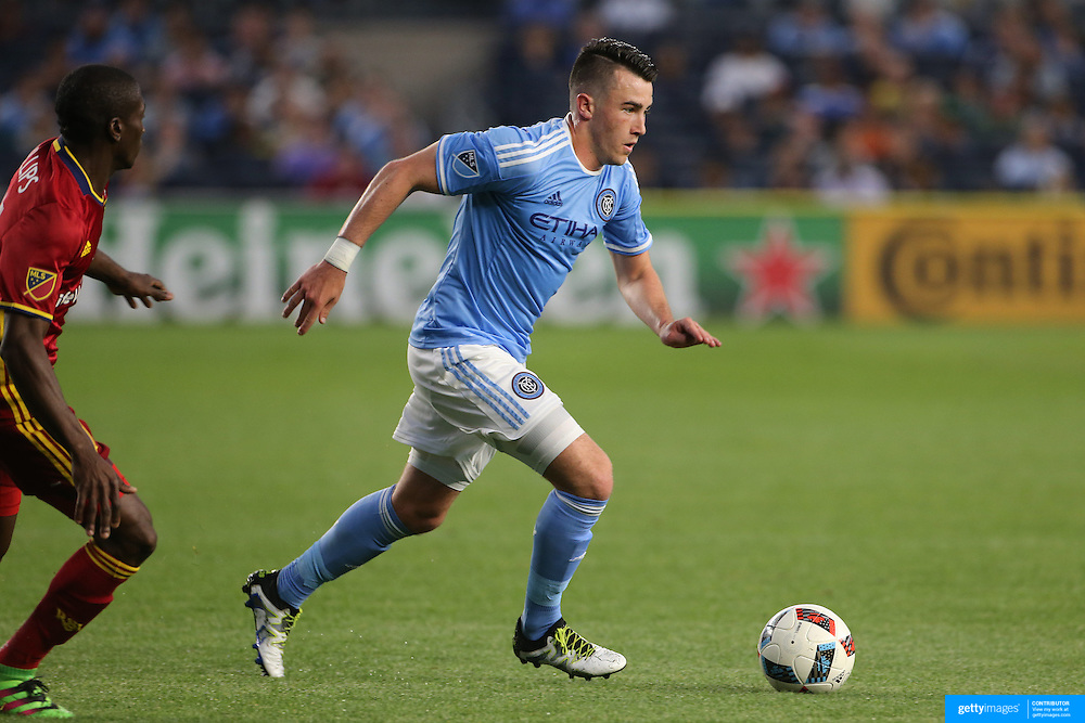 NEW YORK, NEW YORK - June 02: Jack Harrison #11 of New York City FC moves in to score during the NYCFC Vs Real Salt Lake regular season MLS game at Yankee Stadium on June 02, 2016 in New York City. (Photo by Tim Clayton/Corbis via Getty Images)