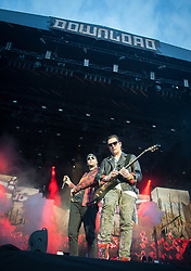 M. Shadows and Synyster Gates of Avenged Sevenfold headline on the main stage on day 1 of Download Festival at Donington Park on June 08, 2018 in Castle Donington, England. Picture date: Friday 08 June, 2018. Photo credit: Katja Ogrin/ EMPICS Entertainment.
