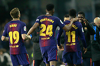FC Barcelona's Ousmane Dembele (l) and Samuel Umtiti celebrate goal during La Liga match. April 17,2018. (ALTERPHOTOS/Acero)