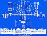 digitally created blueprint of Plan and Elevation of a Roman Villa From the Encyclopaedia Londinensis or, Universal dictionary of arts, sciences, and literature; Volume II;  Edited by Wilkes, John. Published in London in 1810