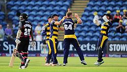 Timm van der Gugten of Glamorgan celebrates the wicket of Jayawardene with his teammates.   - Mandatory by-line: Alex Davidson/JMP - 22/07/2016 - CRICKET - Th SSE Swalec Stadium - Cardiff, United Kingdom - Glamorgan v Somerset - NatWest T20 Blast