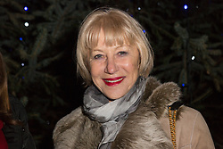 © Licensed to London News Pictures. 08/12/2014. London, UK. Dame Helen Mirren turns on the Christmas tree lights at Wapping Green in Tower Hamlets, East London tonight. This is the first time in many years that Wapping has had a Christmas tree and Dame Helen Mirren surprised residents by turning up at the community event and leading the countdown to switching the tree lights on. She then joined residents singing carols and drinking mulled wine, at the event which was arranged by the local councillor for Wapping and St Katharines, Julia Dockerill. Photo credit : Vickie Flores/LNP