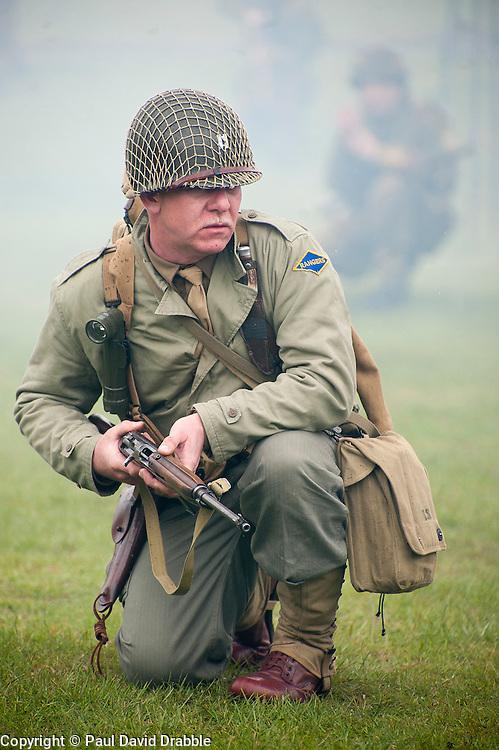Reenactor portraying a US ranger during a battle reenactment at Fort Paull Monday.7 May 2012.Image © Paul David Drabble
