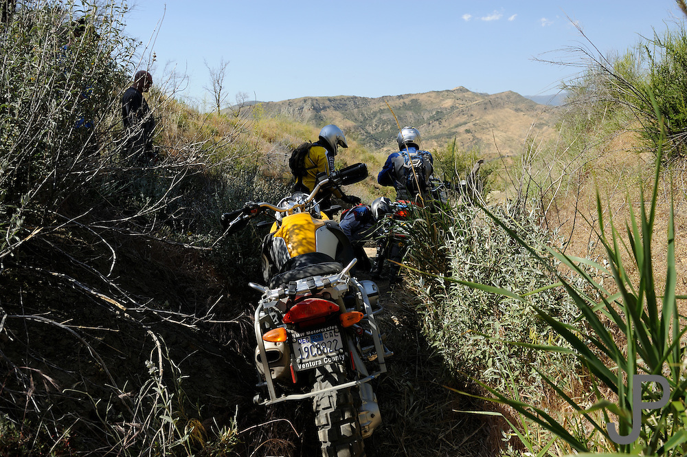 """Three riders had to get two GS style bikes through """"The Pit"""" in the fastest time for the 2009 Rawhyde Adventure Rider Challenge"""