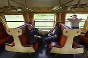 "Strasshof, Austria.<br /> Triebwagentage (railcar days) at Das Heizhaus - Eisenbahnmuseum Strasshof, Lower Austria's newly designated competence center for railway museum activities.<br /> The comfortable passenger carriage in Fifties design of ÖBB 4145 ""Blauer Blitz (Blue Lightning)"", 1952-1962, running until 1997."