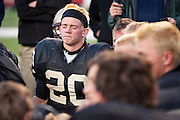 Lone Peak's Austin McChesney reacts to being defeated in the Utah State High School 5A Football semifinal between Lone Peak and Jordan in Rice-Eccles Stadium, Thursday, Nov. 8, 2012.