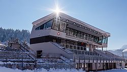 18.01.2017, Biathlonarena, Hochilzen, AUT, IBU Weltmeisterschaft Biathlon, Hochfilzen, Vorberichte, im Bild das neue Zielgebäude mit VIP und Ehrentribüne // Preview for the Upcoming IBU Biathlon World Championships 2017at the Biathlonarena, Hochfilzen, Austria on 2017/01/02. EXPA Pictures © 2017, PhotoCredit: EXPA/ JFK