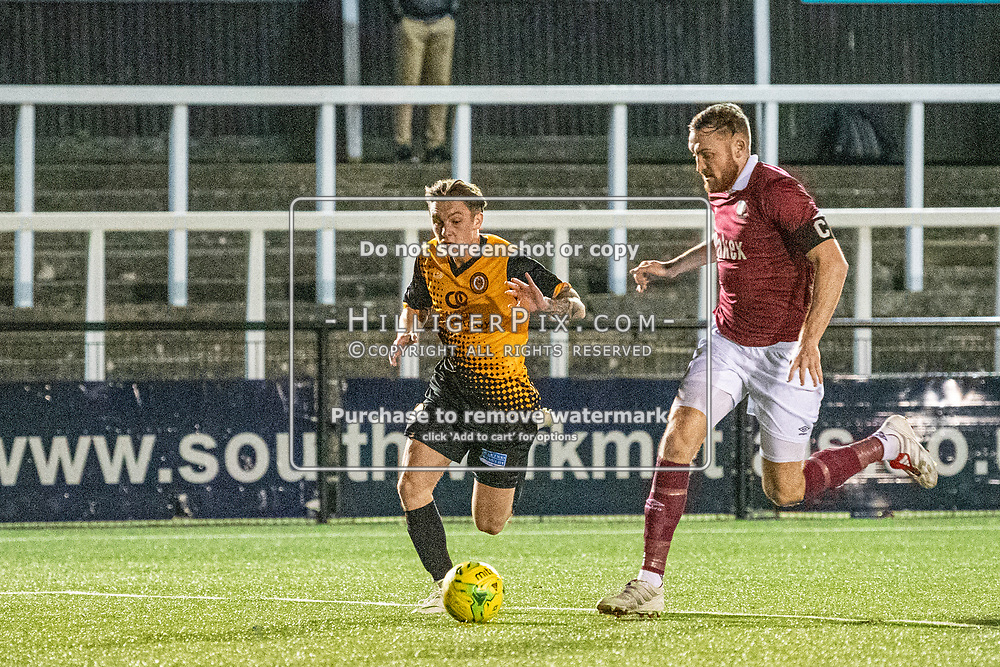 BROMLEY, UK - DECEMBER 07: Joel Rollinson, of Cray Wanderers FC, tries to get the better of James Budden, of Potters Bar Town, during the BetVictor Isthmian Premier League match between Cray Wanderers and Potters Bar Town at Hayes Lane on December 7, 2019 in Bromley, UK. <br /> (Photo: Jon Hilliger)