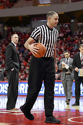 06 January 2016:  Jeff Malham walks away from Dan Muller who is in disbelief over a no call during the Illinois State Redbirds v Loyola-Chicago Ramblers at Redbird Arena in Normal Illinois (Photo by Alan Look)