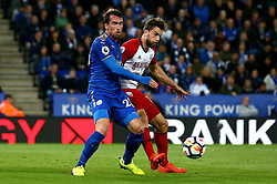 Jay Rodriguez of West Bromwich Albion challenges Christian Fuchs of Leicester City - Mandatory by-line: Robbie Stephenson/JMP - 16/10/2017 - FOOTBALL - King Power Stadium - Leicester, England - Leicester City v West Bromwich Albion - Premier League