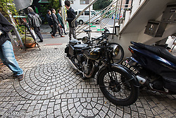 A cool old Velocette parked on a sidestreet in the Shibuya district of Tokyo. Japan. Wednesday, December 10, 2014. Photograph ©2014 Michael Lichter.