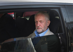 © Licensed to London News Pictures. 03/05/2016. London, UK.  Labour Party Leader Jeremy Corbyn leaves by car after launching an election poster ahead of local and mayoral elections to be held on Thursday May 5th 2016.  Photo credit: Peter Macdiarmid/LNP