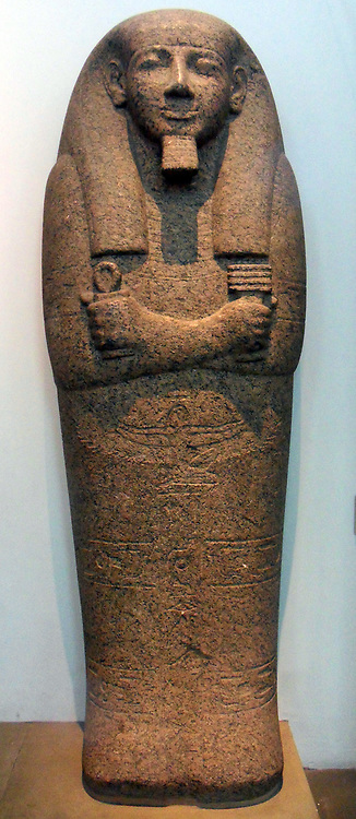 Granite sarcophagus of Pahemnetjer from Saqqara, Egypt 19th Dynasty, about 1250 BC. A High Priest of Ptah at Memphis Pahemnetjer clasps an ankh ('life') sign and a djed pillar, a symbol of Osiris indicating stability. Below the hands is a figure of the goddess Nut, and the texts name a number of protective deities of the dead. Pahemnetjer was a High Priest of Ptah at Memphis in the reign of Ramesses II (1279-1213 BC) Stone sarcophagi were often used for the burials of very important officials at this time.