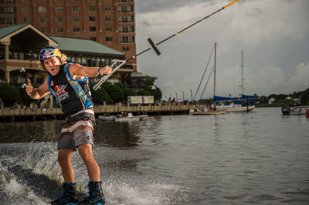 Mike Dowdy thumbs up at Red Bull Wake Open in Tampa Bay, Florida on July 5th 2013.
