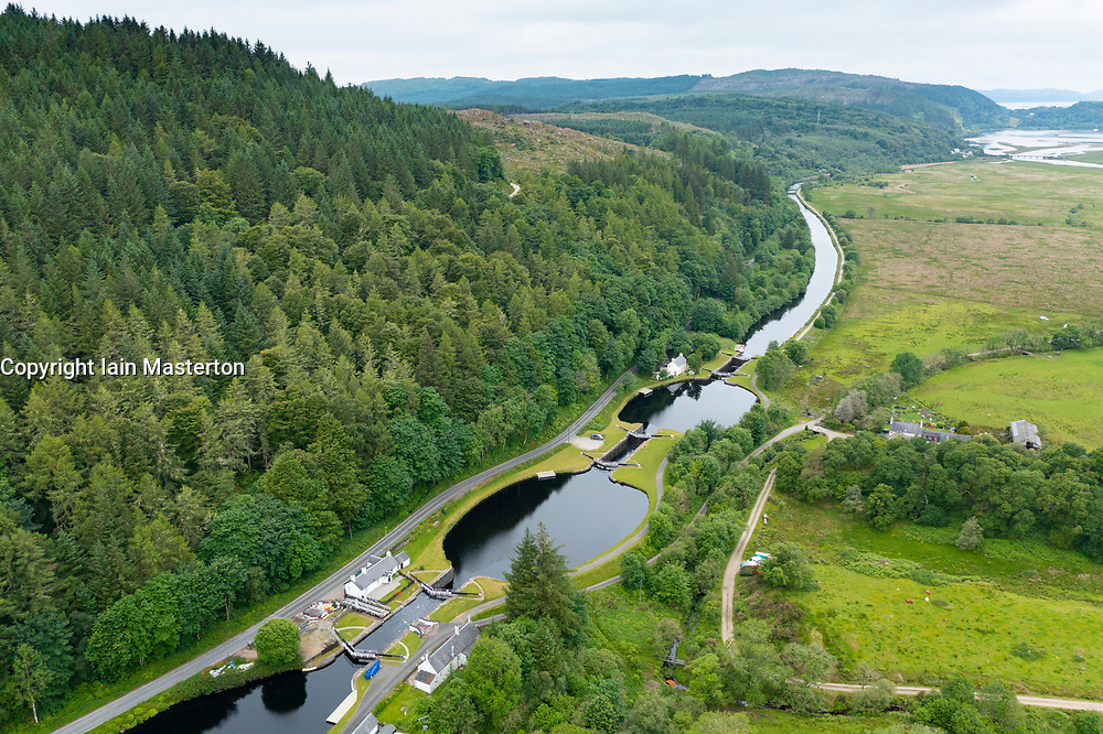Aerial view from drone of flight of locks on the Crinan Canal  in Argyll & Bute, Scotland, UK