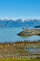 Haines Beach and Harbor Panorama. Image 7 of 11 images taken with a Nikon D300 camera and 18-200 mm VR lens (ISO 400, 34 mm, f/11, 1/500 sec). Raw images processed with Capture One Pro. Composite panorama created using AutoPano Giga.