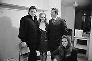 "Ackroyd 17338-R3-10A ""KWJJ. Johnny Cash at Coliseum. June 26, 1971"" (Left to right: Johnny Cash, woman and man from KWJJ, Loretta Lynn. Coliseum backstage dressing room.)"