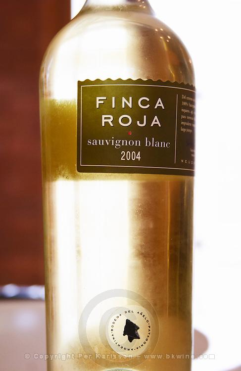 bottle of Finca Roja Sauvignon Blanc Bodega Del Anelo Winery, also called Finca Roja, Anelo Region, Neuquen, Patagonia, Argentina, South America