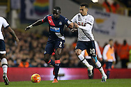 Moussa Sissoko of Newcastle United is challenged by Dele Alli of Tottenham Hotspur. Barclays Premier league match, Tottenham Hotspur v Newcastle Utd at White Hart Lane in London on Sunday 13th December 2015.<br /> pic by John Patrick Fletcher, Andrew Orchard sports photography.