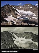A photo comparison of Arapaho Glacier near the Indian Peaks Wilderness area, Colorado, 1914 and 2009.
