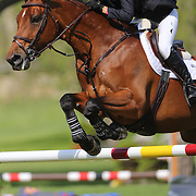 Wesley Newlands riding Evita Van De Veldbal in action during the $100,000 Empire State Grand Prix presented by the Kincade Group during the Old Salem Farm Spring Horse Show, North Salem, New York,  USA. 17th May 2015. Photo Tim Clayton
