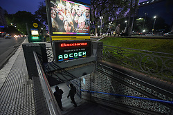 August 12, 2017 - Buenos Aires, Argentina - Subway entrance sign in Spanish: ''Elections'' on the eve of primary vote day ahead of legislative elections in Argentina. (Credit Image: © Anton Velikzhanin via ZUMA Wire)