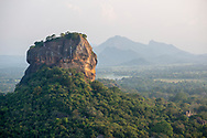 View of central Sri Lanka's famous Sigiriya rock fortress seen from Pidurangala Rock.
