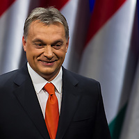 Viktor Orban prime minister of Hungary smiles after his annual state-of-the-nation speech in Budapest, Hungary on February 22, 2013. ATTILA VOLGYI