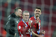 Wayne Rooney of Manchester Utd (c) applauds the fans at the end of the game. EFL Cup Final 2017, Manchester Utd v Southampton at Wembley Stadium in London on Sunday 26th February 2017. pic by Andrew Orchard, Andrew Orchard sports photography.