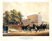 Turn Out of the Employees of the American Express Company, Corner of Hudson, Jay & Staple Streets, New York City on June 21, 1858. Colored lithograph, with hand coloring