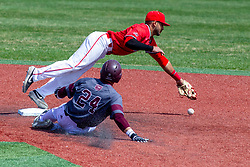 NORMAL, IL - April 08: Aidan Huggins cant handle a hot throw allowing Drew Millas to slide into second safely during a college baseball game between the ISU Redbirds  and the Missouri State Bears on April 08 2019 at Duffy Bass Field in Normal, IL. (Photo by Alan Look)