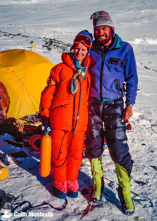 Dr Jan Arnold and Rob Hall on South Col Chomolungma - Mount Everest, Pre-monsoon May 1993 Adventure Consultants expedition, New Zealand