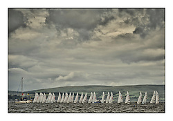 470 Class European Championships Largs - Day 2.Wet and Windy Racing in grey conditions on the Clyde...Men's Fleet Start..