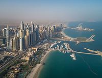 Aerial view of the bay of Dubai, U.A.E.