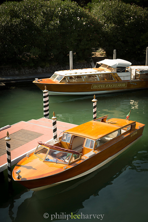 Private water taxis, the Lido, Venice, Italy, Europe