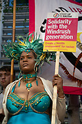Stand up to racism protest outside the Home Office promoting solidarity with the Windrush Generation on 5th May 2018 in London, England, United Kingdom. The protesters were from a multicultural background and stood united to make a hostile environment for racism.