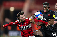Middlesbrough's Patrick Roberts vies for possession with Rotherham United's Wes Harding<br /> <br /> Photographer Alex Dodd/CameraSport<br /> <br /> The EFL Sky Bet Championship - Middlesbrough v Rotherham United - Wednesday 27th January 2021 - Riverside Stadium - Middlesbrough<br /> <br /> World Copyright © 2021 CameraSport. All rights reserved. 43 Linden Ave. Countesthorpe. Leicester. England. LE8 5PG - Tel: +44 (0) 116 277 4147 - admin@camerasport.com - www.camerasport.com