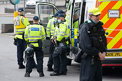 © Licensed to London News Pictures 29/05/2021. Dover, UK. Police officers are starting to arrive in Dover ahead of an anti-immigration protest. Demonstrators are sent to march through Dover in Kent today in protest against immigration and the amount of migrants crossing the English Channel in small boats. Photo credit:Grant Falvey/LNP