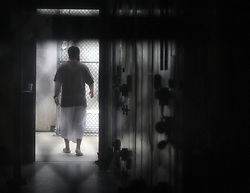 A cooperative captive inside a communal cellblock at Camp 6, at the U.S. Navy base at Guantanamo Bay, Cuba, on February 9, 2016, in this photo approved for release by the U.S. military.Photo by Walter Michot/Miami Herald/TNS/ABACAPRESS.COM