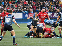 Rugby Union - 2017 / 2018 Guinness Pro14 - Cardiff Blues vs. Scarlets<br /> <br /> Tomos Williams of Cardiff passes the ball out , at Cardiff Arms Park.<br /> <br /> COLORSPORT/WINSTON BYNORTH