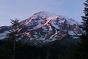Sunset on Mount Rainier, seen from Ricksecker Point, near Paradise, Mount Rainier National Park, Washington, USA.
