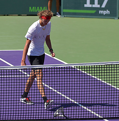 April 1, 2018 - Key Biscayne, Florida, United States Of America - KEY BISCAYNE, FL - APRIL 01: Alexander Zverev breaks his racket in frustration and throws it dangerously into the crowd. John Isner (USA) defeats Alexander Zverev (GER) 67(4) 64 64 in the Mens Final at the Miami Open held at the Crandon Park Tennis Center on April 1, 2018 in Key Biscayne, Florida...People:  Alexander Zverev. (Credit Image: © SMG via ZUMA Wire)