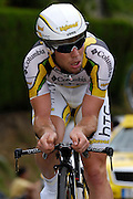 France, Talloire, 22 July 2009: Mark Cavendish (GBr) Team Columbia - High Road on the Côte de Bluffy during Stage 18 - a 40.5 km Annecy to Annecy individual time trial. Photo by Peter Horrell / http://peterhorrell.com .