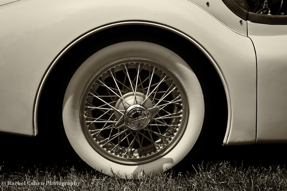 """""""1955 Jaguar"""" 2 mono<br /> <br /> An awesome monochrome view of the right side and wire rimmed wheel of a 1955 Jaguar. <br /> <br /> Cars and their Details by Rachel Cohen"""