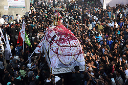 November 2, 2018 - Allahabad, Uttar Pradesh, India - Shia Muslims take part in ''72 Taboot'' procession during Muharram month in Allahabad.  (Credit Image: © Prabhat Kumar Verma/Pacific Press via ZUMA Wire)