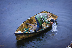 Fisherman bailing water from boat, Kinvarra, County Galway, Ireland